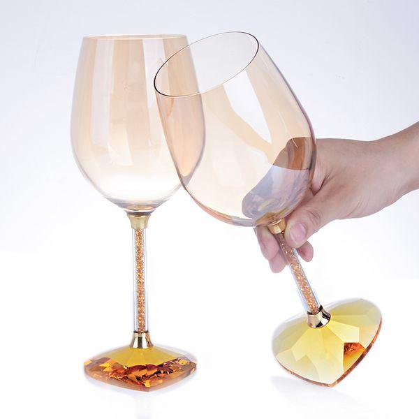 1 par copa de cristal de vino tinto de cristal de alta calidad en forma de corazón / Copa de vino de gran tamaño creativa / copa de moda