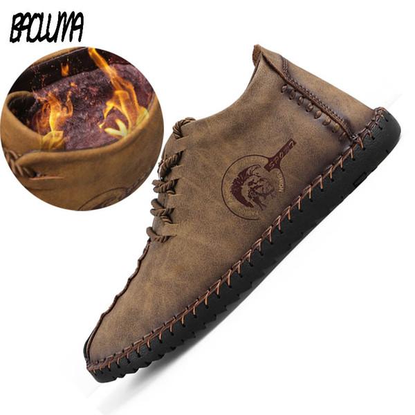New Mens Black Boots Warm Winter Men Designer Boots Split Leather Casual Men Shoes With Plush Dress Work Platform
