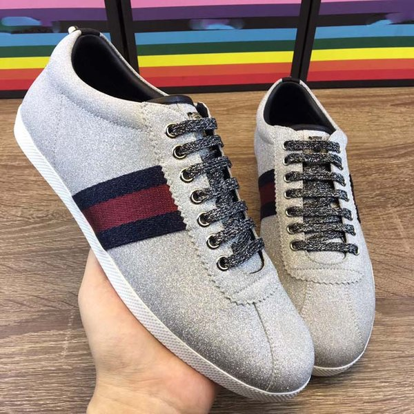 Fashion Designer Schuhe Low-Top-Sneaker in glitzerndem Stoff Glitter Web Sneaker mit für Herren Damen