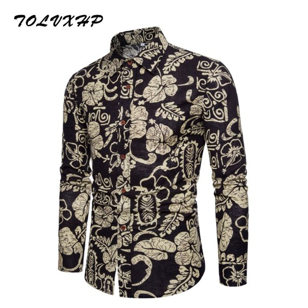 New Brand-Clothing 2018 Fashion Shirt Male Broken flower Dress Shirts Slim Turn-Down Men Long Sleeve Mens Linen Hawaiian Shirt