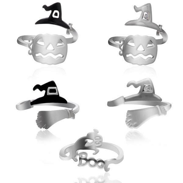 2018 Open Adjustable Sliver Alloy Witch Pumpkin Rings Fashion Ghost Hollow Ring for Halloween Decor