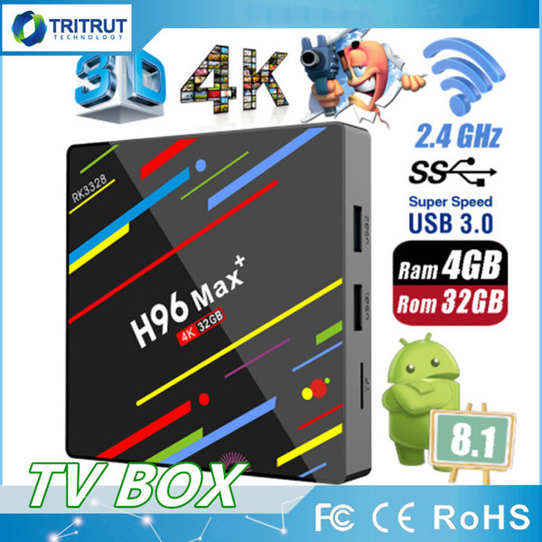 H96 Max+ Max plus TV Box RK3328 Quad Core 4GB RAM 32GB ROM Set Top Box 2.4G 5G WiFi 3G 4K HD Android 8.1 Media Player TV-Box MQ20
