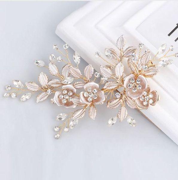 Великолепный ручной работы золотые австрийские кристаллы стразы цветок листьев свадьба зажим для волос заколки свадебный головной убор аксессуары для волос