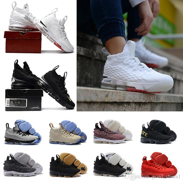 big sale 7820a bb95c 2018 Top Quality Lebron 15 Black Gum University Red Purple Gold Ghost  Sports Basketball Shoes Men 15s Zapatillas Training Sneakers Eur 40 46  Cheap ...