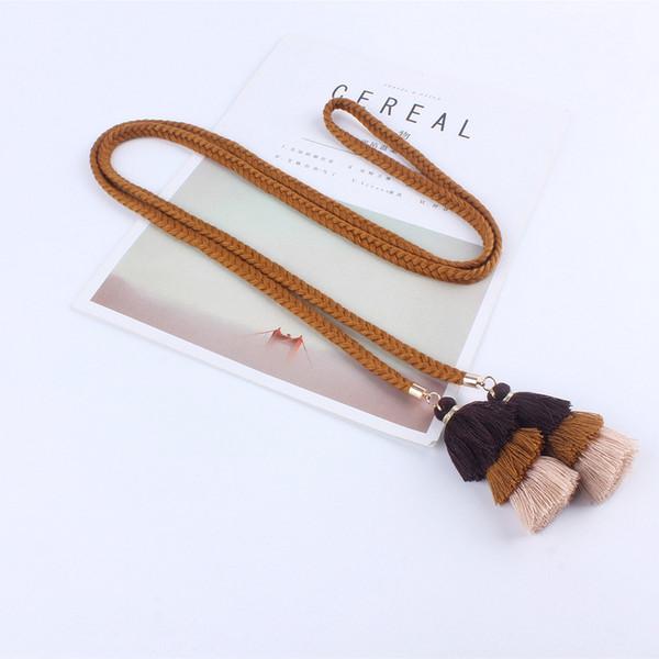 Compre Mujeres De Moda Cinturones De Cuerda Para La Borla De Los Vestidos Cinturón Trenzado De La Cintura Torcedura De Nudo Tejido Decorado Cinturón