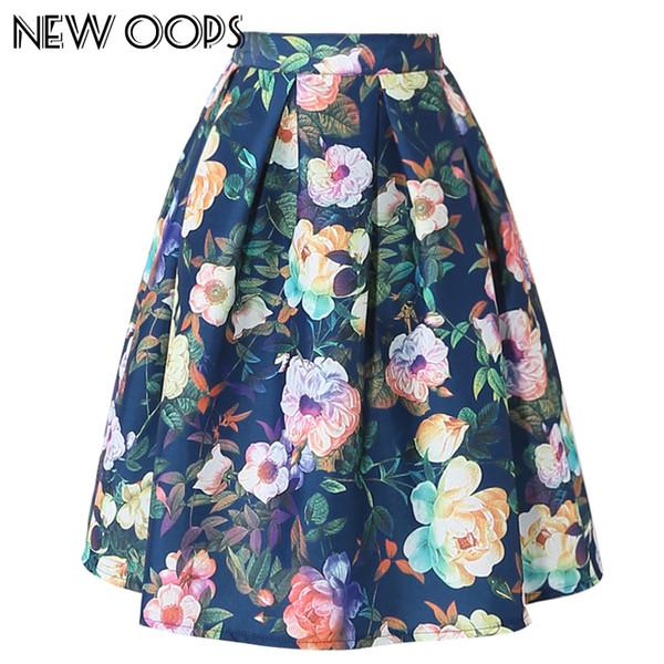 OOPS Summer Women Midi Pleated Skirts 2016 Vintage Flower Printed Ball Gown  High Waist Flared Knee Length Skirts Saias A1604024 e084e0f017d2