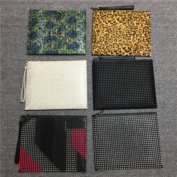 Style Panelled Spiked Clutch Bag Women Patent Leather Mixed Color Rivets bag Clutches Men Big Purses with Spikes