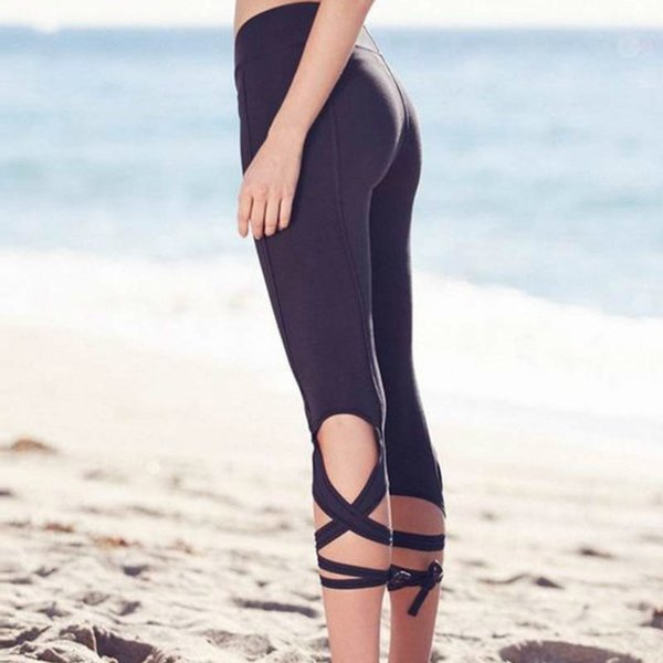 2019 new high quality pure pale colored high waist tie fitness elastic leggings cross pattern fitness gothic leggings