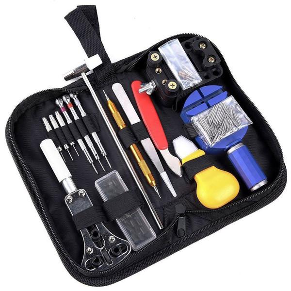 147Pcs Kit di strumenti per la riparazione dell'orologio con astuccio professionale Set di strumenti per barra di rimozione del perno di collegamento dell'orologio professionale
