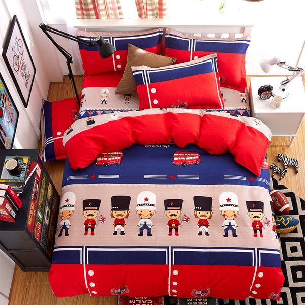 2018 Cartoon children Bedding set Duvet cover set Reactive Printed Bed linen Flat sheet Bedclothes 4pcs polyester Cotton