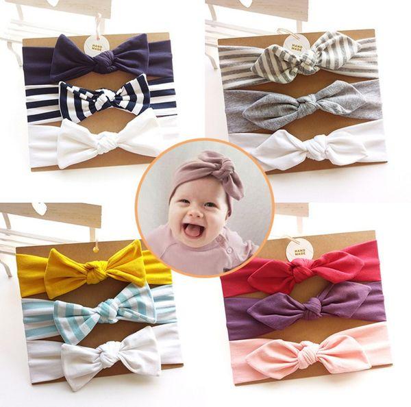 Cute 3ps/set handmade cotton bow headband girls hair accessories bowknots hairband for kids hair ornaments turban