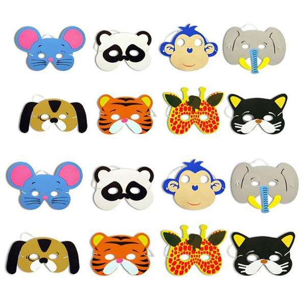 10pcs Mask Birthday Party Supplies EVA Foam Animal Masks Cartoon Kids Party Dress Up Costume Zoo Jungle Children Mask Party Decoration