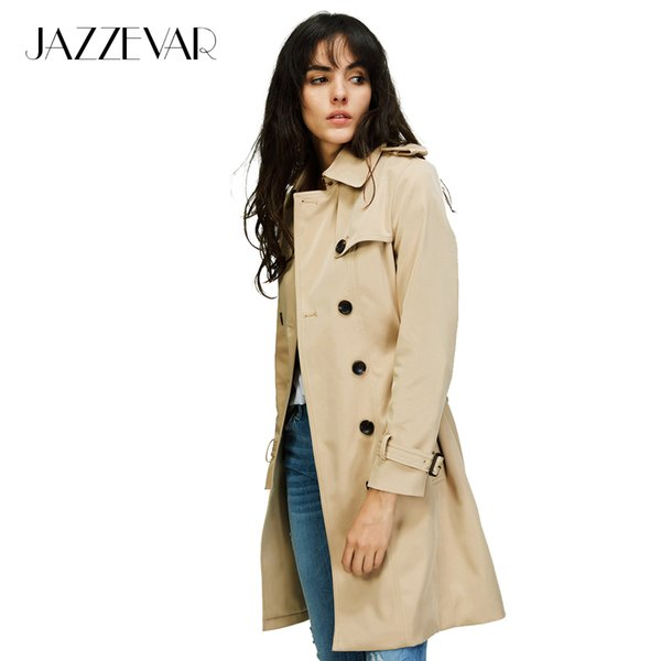 JAZZEVAR 2018 Autumn New High Fashion Brand Woman Classic Double Breasted Trench Coat Waterproof Raincoat Business OuterwearY1882402