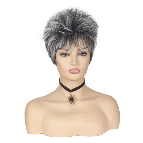 Synthetic Wigs Short Straight Crochet Braids 6 inch Heat Resistant With Layered Bangs For Women Cosplay Wigs