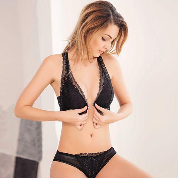 Sexy Wireless Open Bras für Frauen Push Up Plus Size Damen Unterwäsche BH und Panty Lace Lingerier Set Y18101502