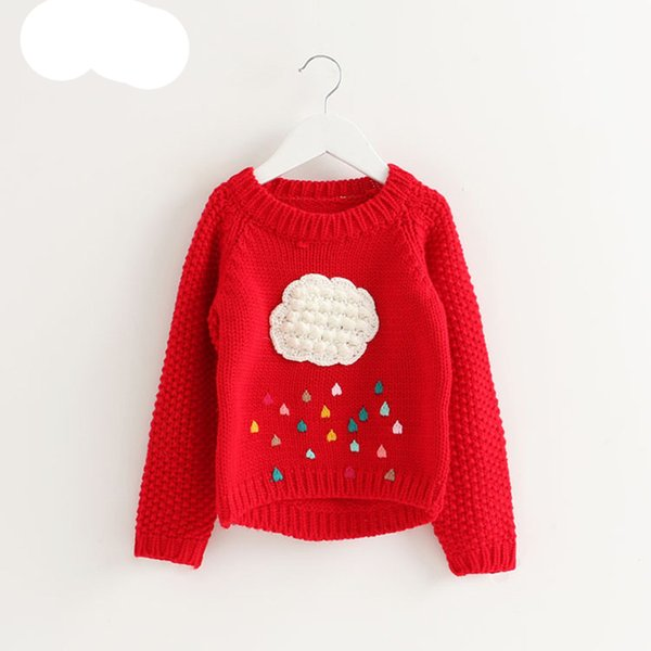 V-TREE Girls Sweater Cloud Sweaters For Girls Knitted Kids Sweater Design Baby Poncho Girls Pullover