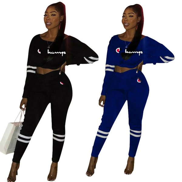 Women's Sports Suit Letter Print Solid Color Sexy Set Two-piece Sets Tops Pants Sweatsuits Women Outfits New Clothing Black Blue S-2XL