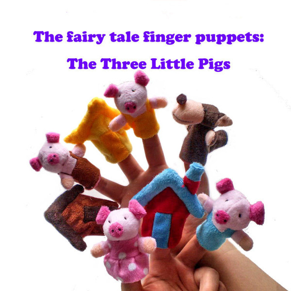 8Pcs/Lot Three Little Pigs Finger Puppet Children Educational Fairy Tale Story Telling Plush Figer Toys Puppet