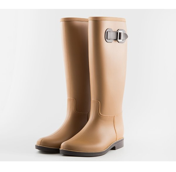0c41f08a174 CUWHF Shoes Boots Female Knee-high Fashion Women Rubber Rain Boots Girls  Kids Leather Shoes Rainboots PVC Rain