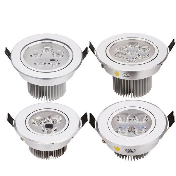 2pcs/lot best price CREE 3W 4W 5W 7W led downlights Recessed AC85-265V silver shell cold white warm white