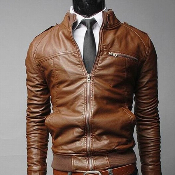 top popular New Arrived Motorcycle Leather Men's Jackets Male Slim Coats With Zipper Man Outerwear Stand Jackets Jaqueta De Couro Masculina 2019