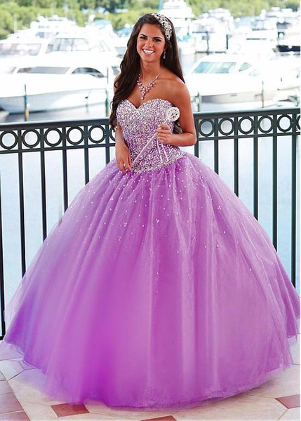 Lovely Sweetheart Light Purple Quinceanera Dresses Beaded Lace Up Custom  Made Sweet 16 Dress 2018 Ball Gown Prom Dresses Quinceanera Boutique