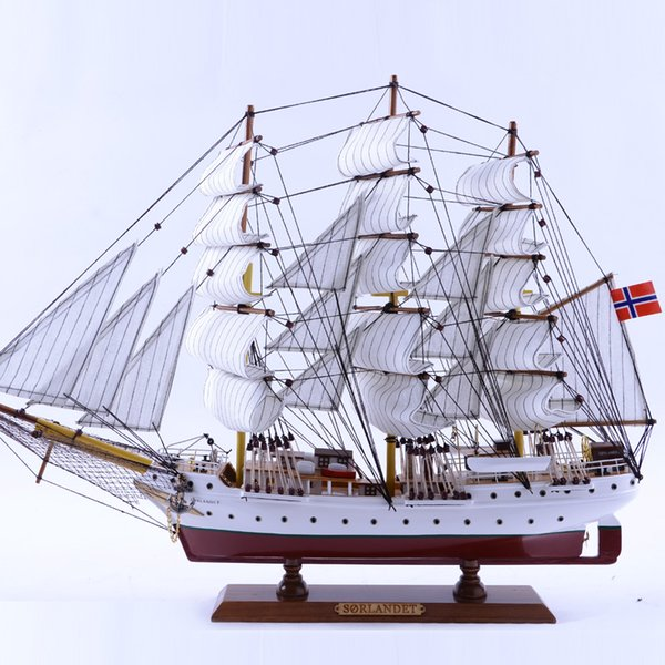 Wholesale Length 65CM Wooden Article Hand Made Sailing Ship Model for Home Nautical Decoration Crafts Gifts