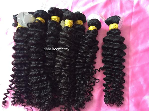 One Donor Peruvian Deep Wave Virgin Human Hair Extensiones Can Be Dyed and Bleached Any Color 3 bundles/lot