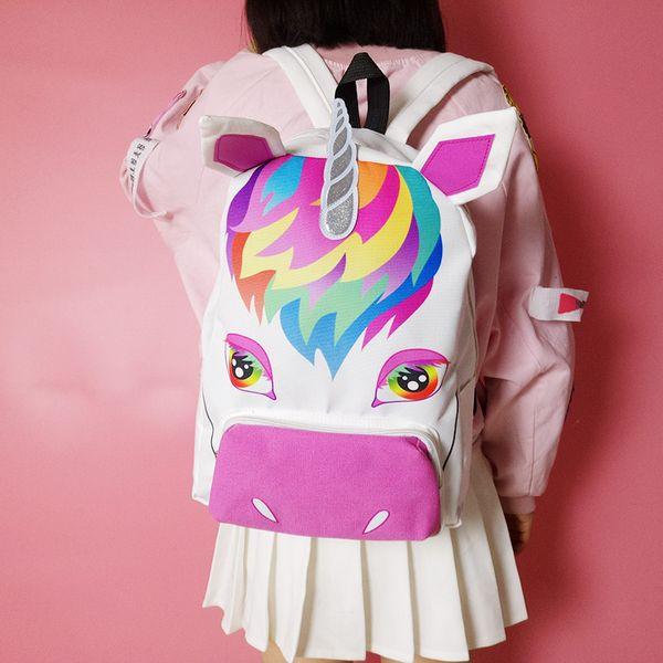 Hot Sell Uni-corn Zipper Women Canvas Backpack Girls Rucksack Travel School Bag fashion girl cartoon animals backpack