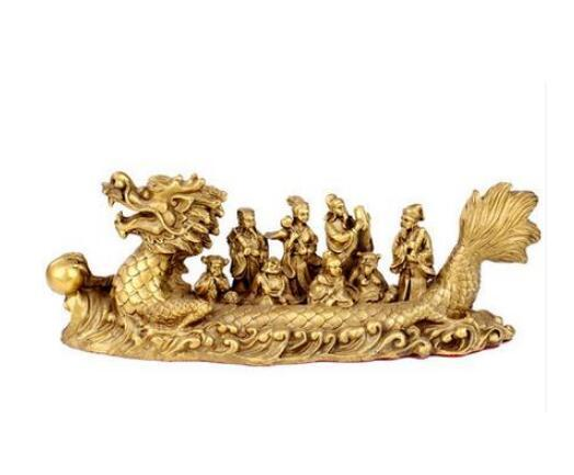 copper statue of Feng Shui decoration craft ornaments The Eight Immortals Crossing the Sea dragon boat Home Furnishing decoratio