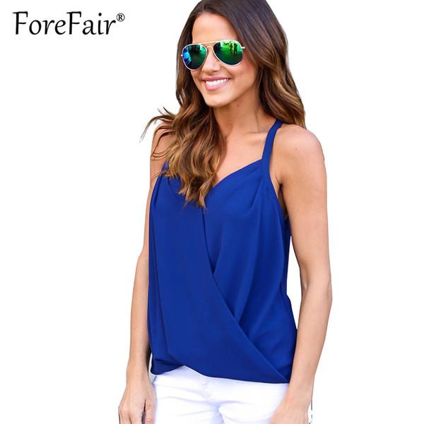 Forefair Summer Blusas Donna Top Backless Stitch Chiffon T-Shirt Sheer Crisss Cross con scollo av Top 2017 Sexy Halter Vest