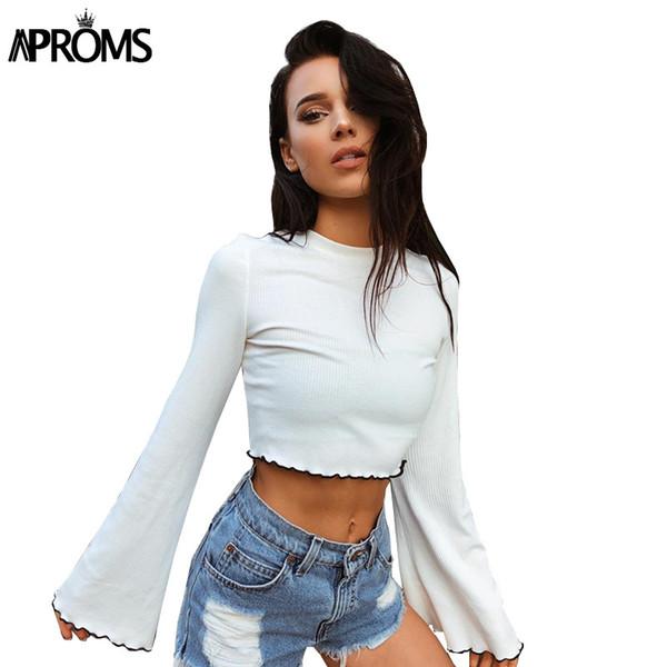 Aproms 90 s Kızlar Flare Kırpma Üst Rahat Fırfır Beyaz Temel T-shirt Kadın Uzun Kollu Kırpılmış T Gömlek Kadın Nervürlü S929 Tops