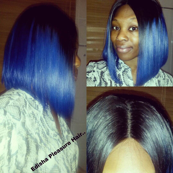 Bob Blue Ombre Lace Front Wigs With Black Roots Brazilian Hair Full Lace Wig 130% Density Human Hair Short Glueless Lace Wig