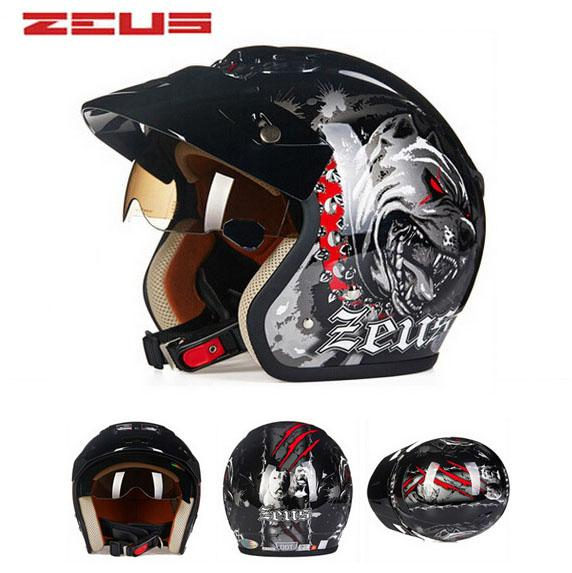 safety electric brand DOT ZEUS ZS-381c DOG 3/4 open face motorcycle helmet with Lining unpick and wash, motorbike helmets