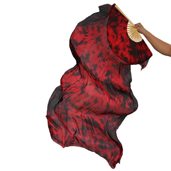 9 Farben Frauen Dancewear Performance Prop 100% Seide 1 Paar Tanzen Fans Dance Zubehör Tie Dye 180 cm Bauchtanz Silk Fan Schleier