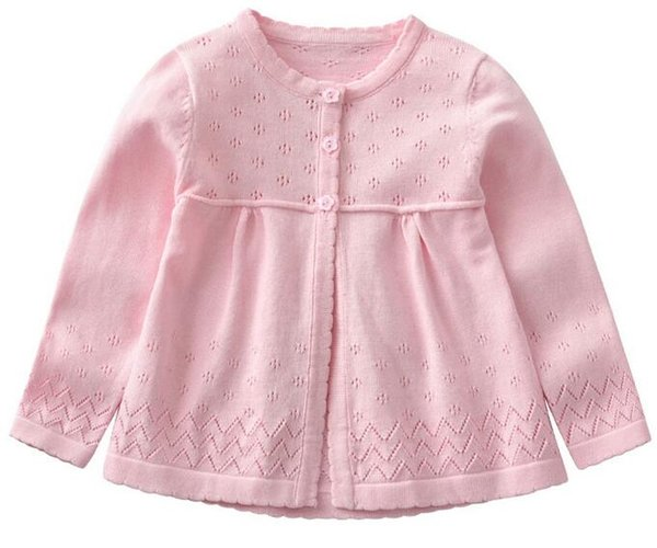 Pink Girl Cardigan Children Sweater Three Flower Buttons Sweet Hollow 3 Colors Choice Great Quality Combed Cotton Wovening