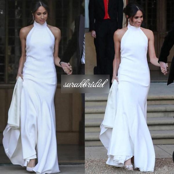 Vestidos Da China Príncipe Harry Meghan Markle Elegante Sereia Vestidos De Casamento Branca De Cetim Macio Festa De Casamento Vestidos Halter Custom