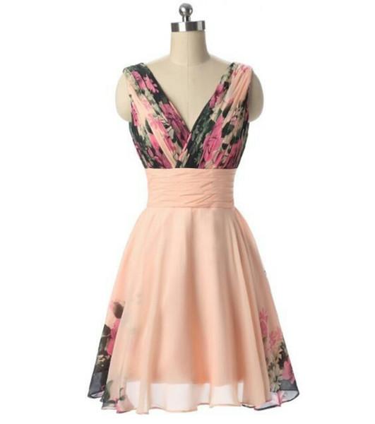 Elegante Custom A-Line con cuello en V corto floral gasa rosa dama de honor para las mujeres hasta la rodilla con cordones sin mangas de baile vestidos de noche