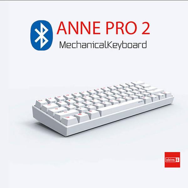 Anne Pro 2 60% sans fil Bluetooth 4.0 Type-C RGB rétro-éclairé Gateron MX commutateurs Mini Portable Bureau Mécanique Clavier de jeu