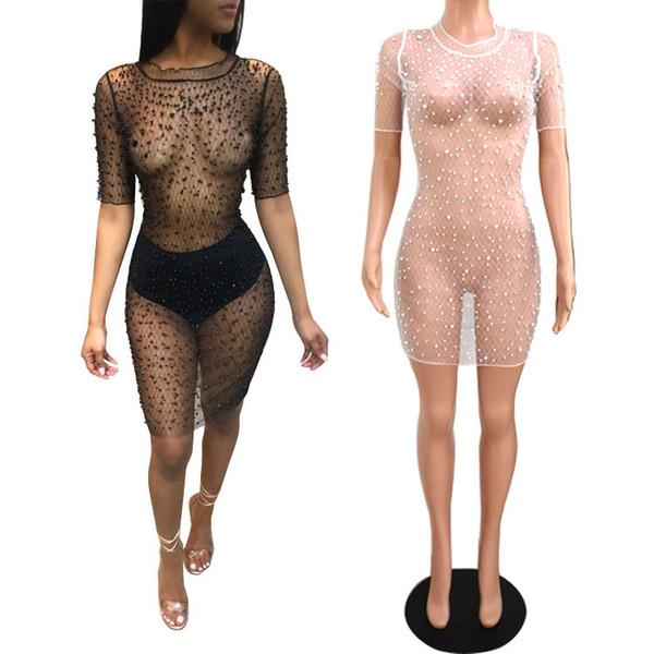Sexy Mesh Bodycon Dress Nightclub CHEAPEST Party Club Dress Transparent Sexy Short Dress F0096 Black 1/2 Sleeve