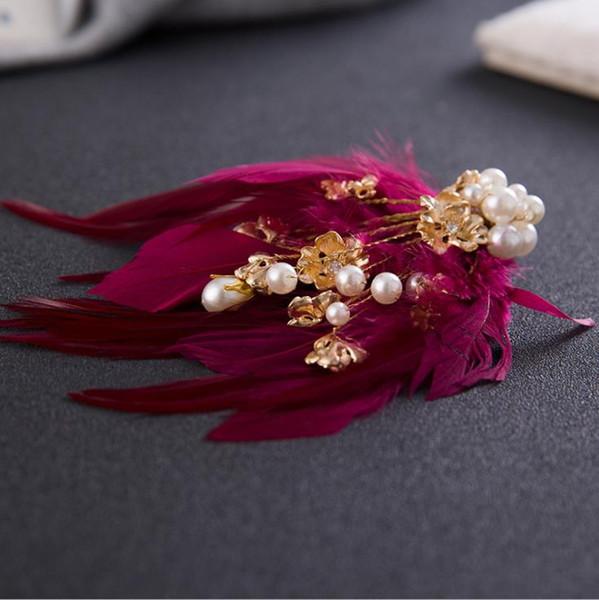Korean feather headdress hairpin sweet smart hair accessories wedding dress wedding dress