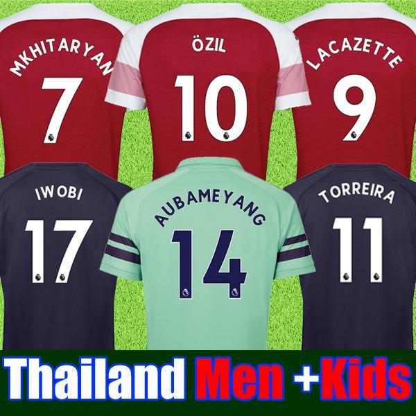 0c62cfb80 Thailand Arsenal soccer jersey 2018 2019 AUBAMEYANG OZIL JERSEY 18 19  LACAZETTE TORREIRA football kit Top MEN and KIDS SET soccer shirt