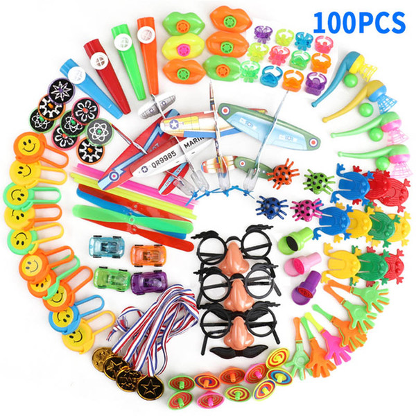 Home 100 Pcs Kids Gift Goodie Bag School Reward Carnival Prizes Festive Party Supplies Birthday Toys Boys Girls Party Favors