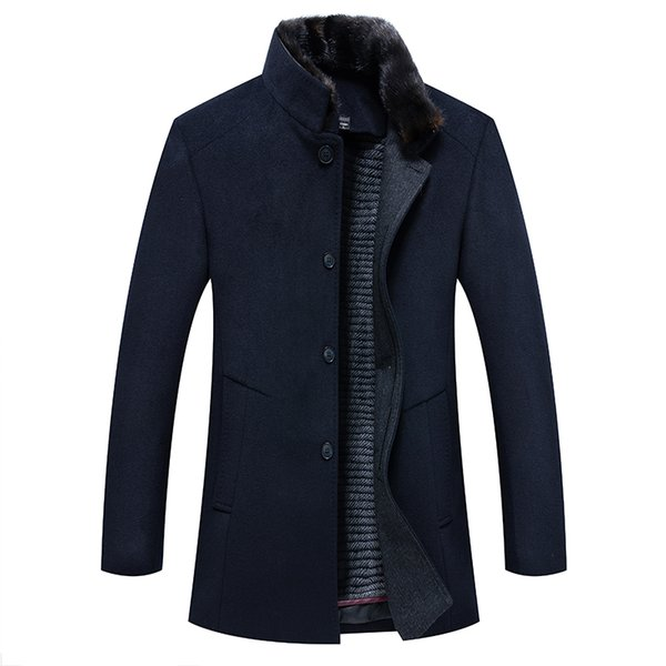 High Quality 2018 New Arrival Winter Coat Men Long Jacket Smart Causal Style Solid Mandarin Collar Single Breasted Thick Coat