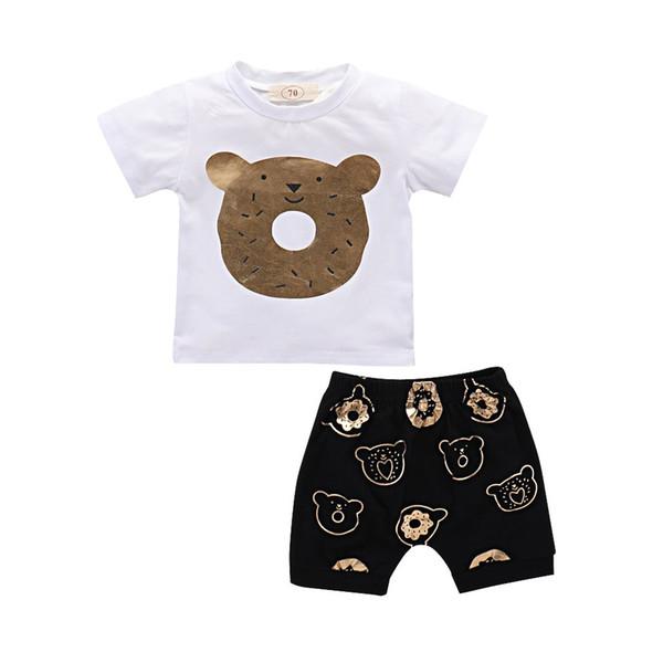 Baby Kid Boys Girls Cartoon Bear Outfits Shirt Tops + Shorts 2PCS/SET cotton sports Clothing Set Summer Clothes Children Suit
