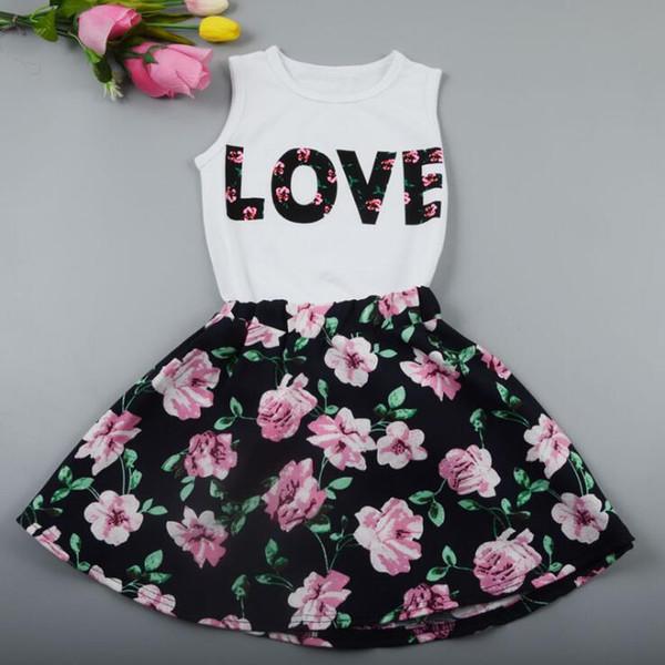 2 STÜCKE Kleinkind Mädchen t-shirt Tank Tops und Rock Kleid Set Outfits Kleidung Baby Mädchen Kinder Floral Kleidung Set Childern Kleidung