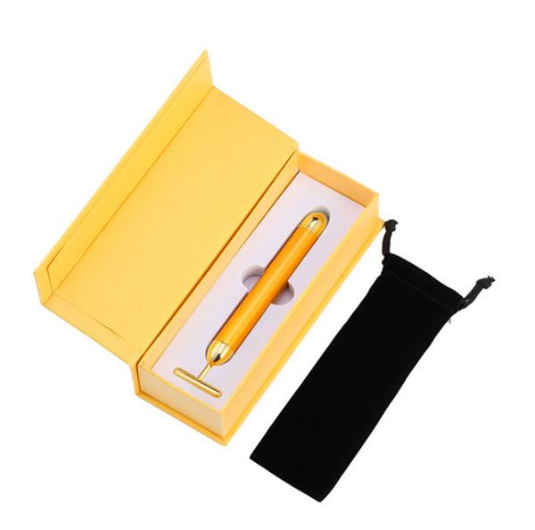 High Quality Energy Beauty Bar 24K Gold Pulse Firming Massager Facial Roller Massager Beauty Care Vibration Facial Massage popular item