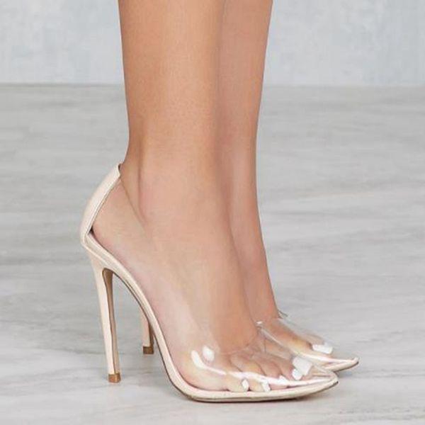Sexy Klar Kunststoff Transparent PVC Pumpe Frauen Club Party Schuhe Frau Benutzerdefinierte Farbe Fuß Tragen Designer Schuhe Frauen High Heels