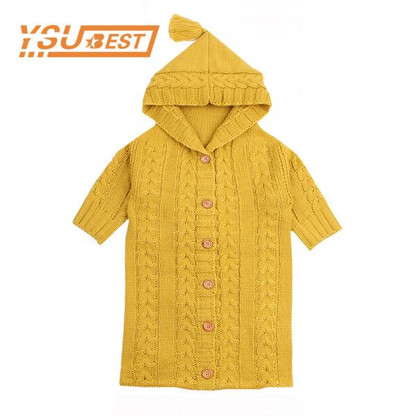 Warm Knit Baby Sleeping Bags With Sleeve Autumn Crocheted Newborn Boys Girls Sleep Sacks Winter Infant Stroller Envelopes 0-12M