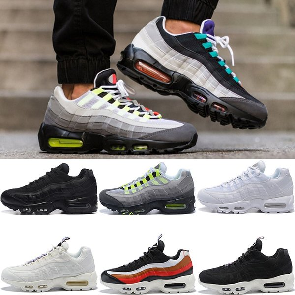 Men Designer 95 Running Shoes What The OG Grape Neon TT Black Red 95s Mens Trainers Sports Sneakers Size 7-11